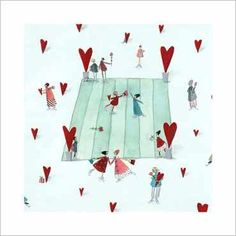 Ice Skater Hearts by Silke Leffler Painting Print Painting Prints, Canvas Prints, Art Prints, Ice Skating, Wrapped Canvas, Graphic Art, Gift Wrapping, Tapestry, Fine Art