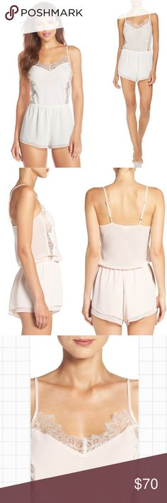 'Lorette' Chiffon & Lace Lingerie Romper Delicate eyelash lace skims the sweetheart neckline and adds peekaboo appeal to the sides of a sweet chiffon romper. Adjustable straps. Perfect for that special wedding night or as a bridal shower gift!  Color: Ivory  Condition: NWT Flora Nikrooz Intimates & Sleepwear Chemises & Slips