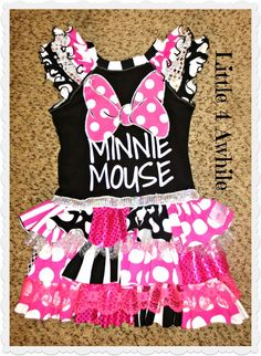 Minnie Mouse Ruffle Upcycle Dress by Little 4 Awhile www.facebook.com/groups/Little4awhile