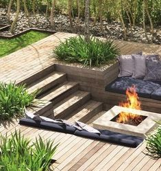 Wooden steps leading down to sunken firepit seating
