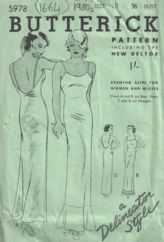 Vintage Sewing Pattern SLIP Butterick 5978 by tvpstore on Etsy Vogue Sewing Patterns, Vintage Sewing Patterns, Sewing Ideas, Sewing Lingerie, Lingerie Patterns, History Page, Make Do And Mend, Pattern Cutting, Free Sewing