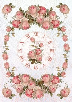 Rose clock Decoupage Vintage, Vintage Diy, Decoupage Paper, Vintage Crafts, Shabby Vintage, Vintage Labels, Vintage Paper, Vintage Flowers, Vintage Images