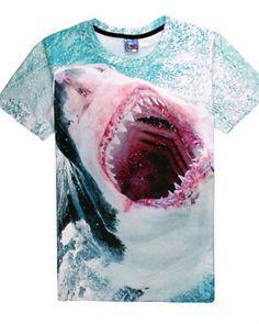 3D Printed T-Shirts Cartoon Shark Under The Sea Short Sleeve Tops Tees