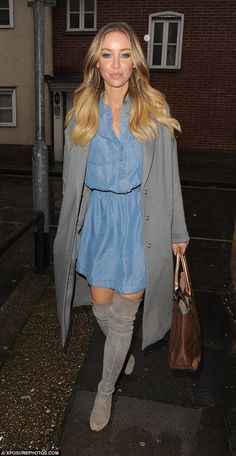 Dressed to impress: Lauren Pope looked stylish as ever in a denim dress paired with a grey coat and matching over-the-knee boots as she visited Suite 104 in Brentwood, Essex on Thursday Grey Over Knee Boots, Over The Knee Boot Outfit, Lauren Pope, Fashion Vocabulary, Model Look, Dress To Impress, Ruffle Blouse, Shirt Dress, Denim