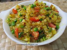 A stir fried snack of sago (tapioca) pearls, peanuts, potato and indian spices.