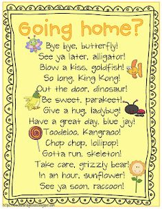 Going home- cute sayings for the end of the day!