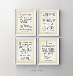 Winnie the Pooh nursery art print set of 4, Disney movie quotes wall decor, baby shower gift, Kids room wall art,  dorm decor