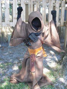 Homemade Jawa costume for kids.