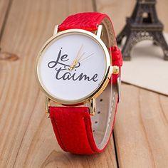 Vintage JETAIME Damen Armbanduhr Basel-Stil Quarzuhr Lederarmband Uhr Rot - http://uhr.haus/better-dealz/rot-vintage-jetaime-damen-armbanduhr-basel-stil