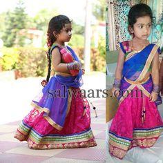 Cute Girl in Jute Net Half Sari - Indian Dresses