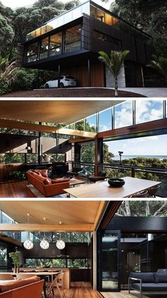 Kawakawa House by Herbst Architects in Piha, New Zealand . - Kawakawa House by Herbst Architects in Piha, New Zealand - Container Home Designs, Cool House Designs, Modern House Design, Exterior Design, Home Interior Design, Interior Ideas, Casas Containers, House Ideas, Style At Home