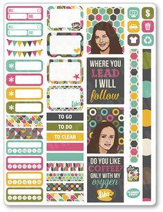 Gilmore Girls Functional Kit Planner Stickers for Erin Condren Planner, Filofax…