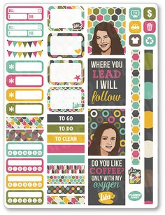 Gilmore Girls Functional Kit Planner Stickers for Erin Condren Planner, Filofax…