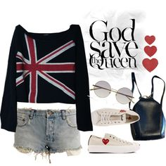 Union Jack. I'd rock this whole outfit, but instead of shorts it'd be distressed skinny jeans ;)