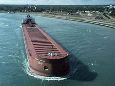 Great Lakes Freighter. We see them off the coast of Sleeping Bear Bay as the sail between the mainland and the Manitiou Islands.