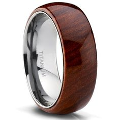 Metal Masters Co.® 6MM Titanium Wedding Ring Band With Hawaiian Koa Wood Inlay, Dome, Comfort Fit Size 10