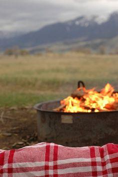 fire, mountains, fun blanket...heavenly