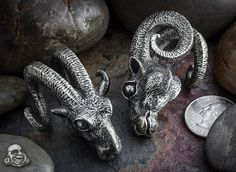 Solid white brass Baphomet weights by Maya Jewelry || I want these babies soo bad.