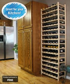 These wood wine rack shelves offer expandable wine storage so that you can continually build your stock. 96 bottle storage capacity per set. Wine Rack Shelf, Wine Shelves, Wood Wine Racks, Wine Storage, Wine Cellar, Bottle, Pantry, Furniture, Home Decor