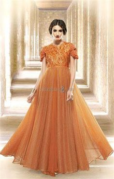 Women s Clothing - Fancy Orange Jacquard Embroidered Gown - 6663 - PRODUCT  Details   Style   Semi-Stitched Party GownDefault Size   Free Size ( Semi- f199374e1