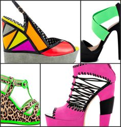 Access to a stylish selection of Women's neon heels, shoes and sandals Dream Shoes, Crazy Shoes, Neon Heels, Unique Shoes, Hot Shoes, Scarfs, Beautiful Outfits, Exotic, Footwear