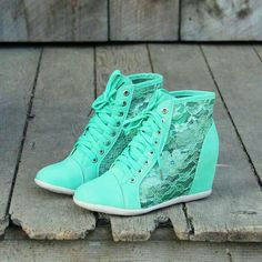 Lush Meadows Lace Sneakers, Sweet Rugged Boots on Wanelo Lace Sneakers, Wedge Sneakers, Wedge Shoes, Sneakers Fashion, Fashion Shoes, Mint Shoes, Platform Sneakers, Fashion Men, Latest Fashion