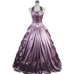 Light Purple Halter Gothic Victorian Dress (175 CAD) ❤ liked on Polyvore featuring dresses, gowns, long dresses, lavender long dress, lavender dress, purple gown and halter dress