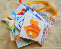 "Soft cards ""Rainbow Zoo"" made of felt to learn colors and animals. Handmade unique item ((Orange, fish, possibly for baby monster.))"