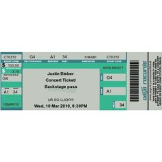 Justin Bieber concert ticket. (USE) ❤ liked on Polyvore