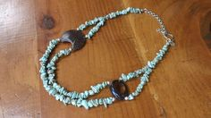 Pretty Turquoise, Wood, and Sterling Silver Necklace by PataSilverDesign