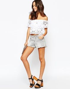 New Look Lace Detail Off The shoulder Top (WHITE) UK 12 at ASOS RRP £19.99