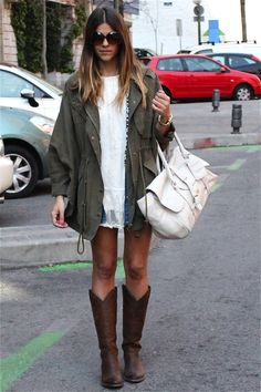 Army green oversized jacket + lace dress + riding boots. Perfection