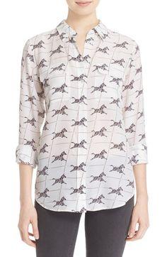 EQUIPMENT 'Slim Signature' Zebra Print Silk Shirt. #equipment #cloth #