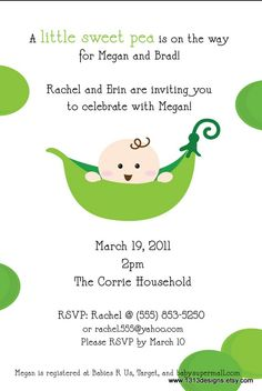 Sweet Pea Baby Shower Invitations with Matching by 1313Designs, $1.50
