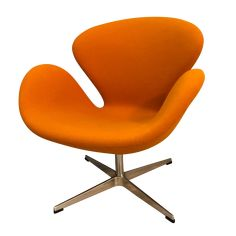"""Vintage Arne Jacobsen """"Swan"""" style chair in gorgeous burnt orange upholstery. Beautiful condition-- no major flaws or damage. Plywood Furniture, 70s Furniture, Log Cabin Furniture, Modern Furniture, Furniture Design, Arne Jacobsen Chair, Herman Miller, Swan Chair, Japanese Interior Design"""