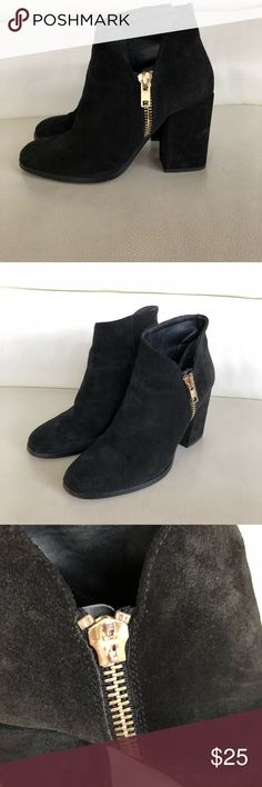 Zara black suede booties These are size 39 gently worn Zara booties. I'm a size 8 and they fit me perfectly. Small scuffs throughout but their not really noticeable. One of the zipper pulls fell off but it still zips without it. Sold as is. Zara Shoes Ankle Boots & Booties
