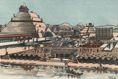 Marketplace of Aztec City Tenochtitlan in Ancient Mexico   Book Illustration, 1949, by Donn P. Crane.