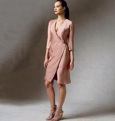 Donna Karan's take on the wrap dress. Vogue Patterns sewing pattern. For woven fabrics.
