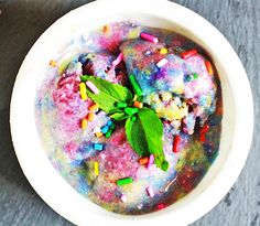 Galaxy Rainbow Banana Ice Cream is vegan and doesn't have any refined sugars and you will only need 5 simple ingredients! | Vegan Ice Cream, Galaxy Ice Cream, Easy Ice Cream, No Churn Ice Cream, Banana Ice Cream, Healthy Ice Cream|