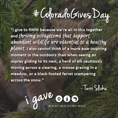 Will you join Terri and donate today to protect our thriving ecosystem? www.coloradogives.org/RMW #ColoradoGivesDay