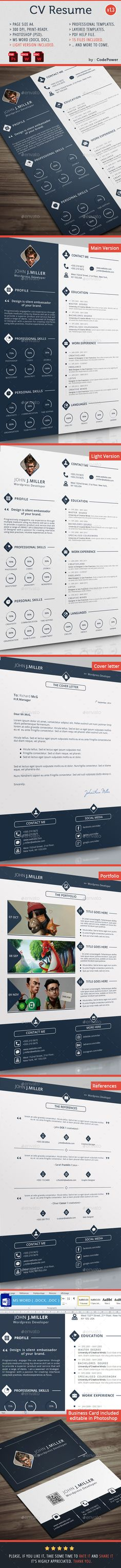CV Resume — Photoshop PSD #simple resume #cv design • Available here → https://graphicriver.net/item/cv-resume/8886019?ref=pxcr