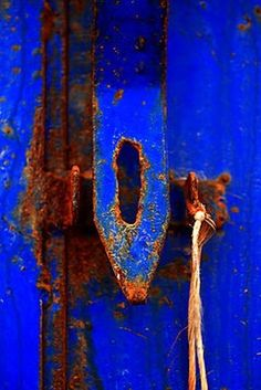 Moroccan Rust III by Damienne Bingham [Prints, etc. avaialbe through Redbubble]. Rust and the bluest blue Bleu Indigo, Peeling Paint, Love Blue, Something Blue, Electric Blue, My Favorite Color, Textures Patterns, Shades Of Blue, Blue Orange