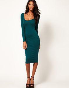 ASOS Midi Body-Conscious Dress with Long Sleeves