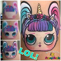 LOL Doll Face Painting LOL Doll Face Painting Source by niedlichkatzen Doll Face Paint, Doll Painting, Painting For Kids, Face Painting Tutorials, Face Painting Designs, Paint Designs, Green Face Paint, Christmas Face Painting, Surprise Face
