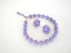 Purple Bead DemiParure Choker Necklace by GallivantsVintage, $25.00