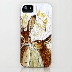 Funny rabbits - Little Kiss 543 iPhone Case by S-Schukina - $35.00