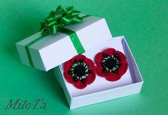 Crochet Earrings Red Poppy Flowers with Silver 925 Sticks by MileTa