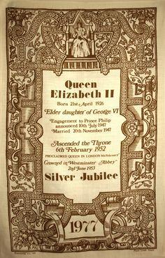 Queen Elizabeth II Silver Jubilee Tea Towel - Vintage 1977 Royal Family Majesty Crown Sword By Dunmoy - Made in Ireland - New Old Stock by FunkyKoala on Etsy