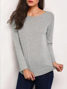 Grey V Neck Backless Loose T-Shirt