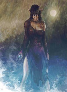 Elf elven female sorcerer mage wizard